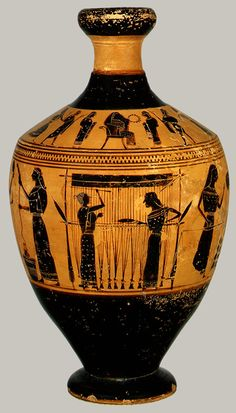 Attributed to the Amasis Painter. Archaic black figure Greek Lekythos depicting women in the various stages of wool making and weaving. 550-530 BCE Metropolitan Museum #31.11.10