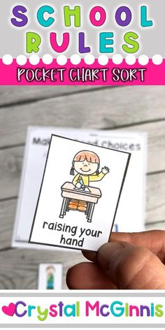 Student Gifts Discover School Rules Pocket Chart Sort Activity (First Day of School) School Rules Pocket Chart Sort Activity (First Day of School) Pocket Chart and Independent Practice School Rules Activities, Preschool Rules, First Day Of School Activities, Preschool Learning Activities, Preschool Classroom, First Day At School, School Week, English Activities, School School