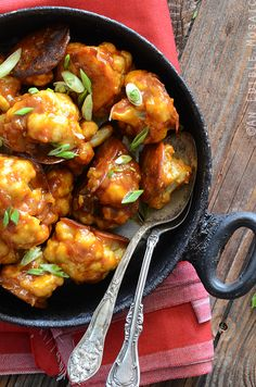 Healthier Roasted Gobi Manchurian Recipe (Cauliflower in a Spicy Sauce). A fun fusion of Indian and Chinese flavors.