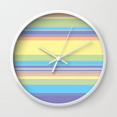 Complex Stripes - Pastel Rainbow Wall Clock by laec Rainbow Wall, Color Combos, Clocks, Pastel, Stripes, Creative, Board, Artwork, Gifts