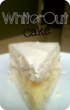 White-Out Cake Recipe ~ Say: The white cake is simple and fantastic. Soft, fluffy, and sweet. The homemade custard filling is unlike anything I've ever made before. Thick, creamy, and a wonderful accent to the cake. Almost vanilla pudding like but bette. Just Desserts, Delicious Desserts, Yummy Food, Sweet Recipes, Cake Recipes, Frosting Recipes, Yummy Treats, Sweet Treats, Dessert Crepes