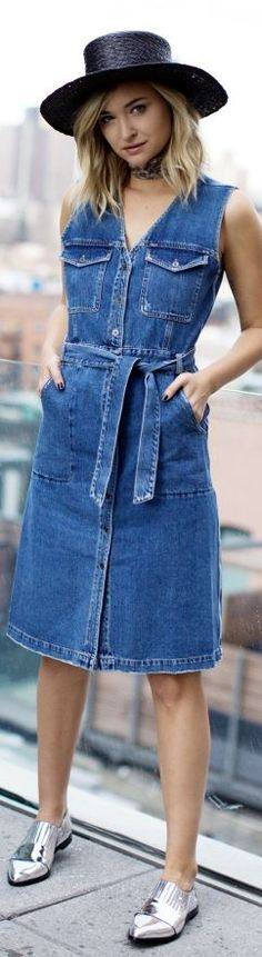Denim Sleeveless Shirt Dress Fall Inspo by Late Afternoon