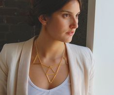 DIY geometric statement necklace