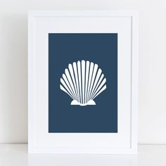 Sea Shell Print, Navy Blue Shell Print, Scallop Art, Shell Wall Art, Ocean Print, Coastal Home Décor, Seashell Art, Beach Decor, Navy Blue on Etsy, $5.00