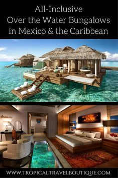 No need to go to Tahiti! Gorgeous over the water bungalows are now available in Mexico and the Caribbean. Click through to find out which resorts offer these most luxurious accommodations. Honeymoon Places, Vacation Places, Vacation Trips, Dream Vacations, Vacation Spots, The Places Youll Go, Places To Go, Tahiti, Overwater Bungalows