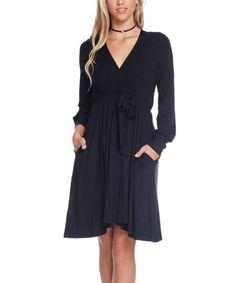 Black Surplice Empire-Waist Dress