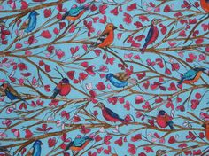 Aqua and Red Wing Song Bird Print Cotton Fabric from Michael Miller