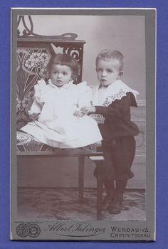 AW ★ CDV Foto UM 1905 Zwei Süße Kinder Kleiner Knabe Und Baby Werdau | eBay