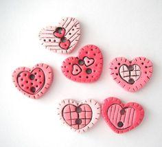 Button Antiqued Heart Shape handmade polymer clay: