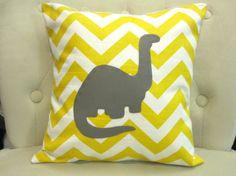 14x14 Dinosaur Yellow Chevron Pillow Cover by blackrufflebrigade