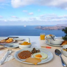 Santorini Hotel Volcano View, a 5 star hotel in Santorini,Fira.The largest Santorini hotel,recognised as the most easily accessible of Caldera Santorini Hotels. Fira Santorini, Santorini Hotels, Autumn Morning, 5 Star Hotels, Volcano, Breakfast, Happy, Beautiful, Instagram