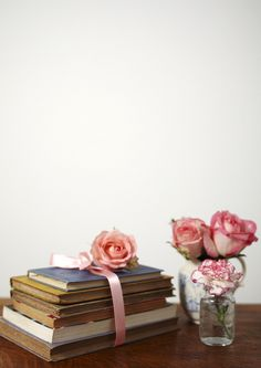 Vintage books and pretty flowers