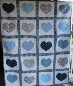 Hand made baby quilt Blue Hearts design hand by purrfectstitchers, $90.00