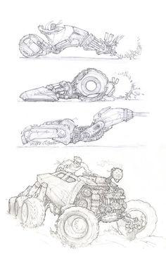 Vehicle art by miguel lopez (vehicles) drawing дизайн персонажей, рисунки, Robot Concept Art, Weapon Concept Art, Concept Cars, Futuristic Cars, Futuristic Design, Car Drawings, Drawing Sketches, Robots Drawing, Cyberpunk