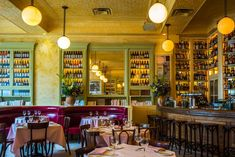 Channeling a French countryside aesthetic, this bistro, which appropriately serves French fare, is the latest project by legendary New York restaurateur Keith McNally. Behind the brick-and-pine façade you'll find painted-tin ceilings, patterned floors, and subway-tile columns. A creamy yellow palette is accented by red leather seating and olive green shelving. 282 Bowery, New York; cherchemidiny.com