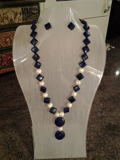 Genuine Lapis Lazuli and Pearl Necklace and Drop by CeliasGems, £20.00