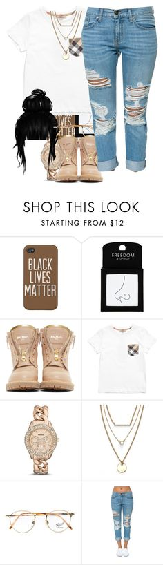 """""""Untitled #47"""" by thaofficialtrillqueen ❤ liked on Polyvore featuring Topshop, Balmain, Burberry, FOSSIL, Jules Smith, Persol and Pistola"""