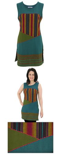 Sleeveless Tunic ~The treasure at the end of the rainbow is you with the rich colors and endlessly fun design of our sleeveless tunic. With bold, vertical rainbow stripes paired with contrast stitching and dramatic diagonals for a knockout presentation.  100% cotton  Wash cold on gentle cycle, dry flatNo bleach  Made in Nepal