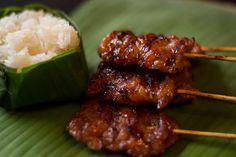 Thai  BBQ pork with sticky rice, yum!
