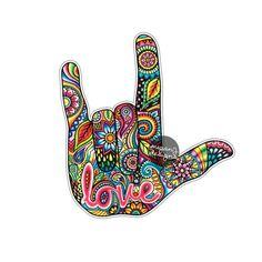 Me gusta le lengua de señas mano etiqueta etiqueta coche Art Hippie, Hippie Love, Hippie Kunst, Hippie Chick, Car Stickers, Laptop Stickers, Sign Language Art, Art Amour, I Love You Signs