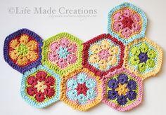 African Flower Hexagon Blanket; gorgeous!