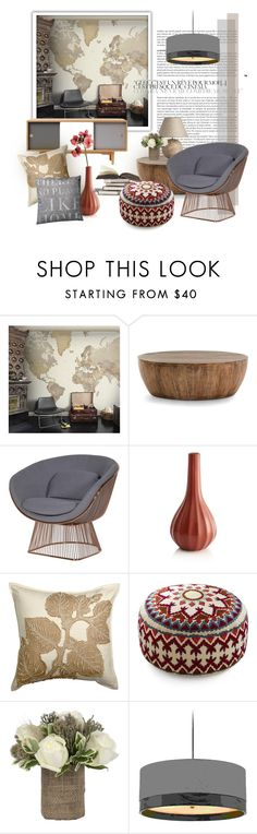 """""""Warm grey & brown"""" by senalica ❤ liked on Polyvore featuring interior, interiors, interior design, home, home decor, interior decorating, Mr Perswall, Arteriors, CB2 and Crate and Barrel"""