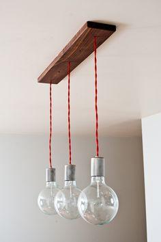 Triple Shot Straight - 3 Globe Hanging Pendants w/ Modern Walnut base by Dylan Design Company. via Etsy. Diy Luminaire, Luminaire Design, Drop Lights, Hanging Lights, Wood Pendant Light, Pendant Lighting, Pendant Lamp, Home Lighting, Lighting Design