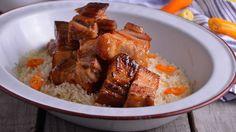 Receta   Tacos de ventresca de cerdo garrapiñados y arroz de cítricos - canalcocina.es