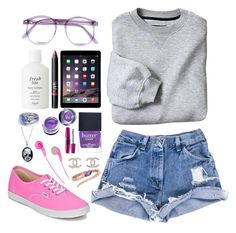 """#cute nerdy girl "" by ebbyonthemoon ❤ liked on Polyvore featuring Warehouse, Vans, Fresh, NARS Cosmetics, Butter London, Maybelline, Savanna, Bling Jewelry, Chanel and Roberto Coin"