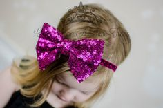 Check out this item in my Etsy shop https://www.etsy.com/listing/262285038/fuchsia-pink-sequin-bow-headband-sparkle