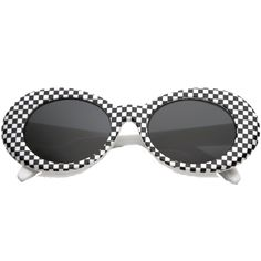 5084dc3978 Large oval sunglasses featuring a thick white and black oval clout goggle  checkered frame and stylishly wide arms that taper at the ends and color  tinted ...