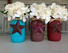 "Mason jars with the signature ""Texas star"" so cute"
