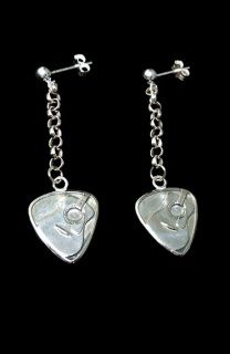 Silver Glitter Acoustic Guitar Earrings - Sterling Silver 3hoCOi62hY