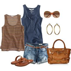 Tanks and cutoffs, easy summer.., created by pspierce on Polyvore