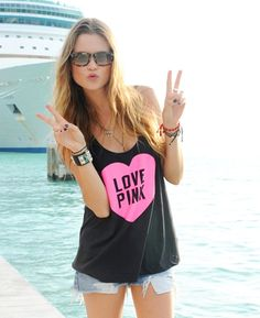 Peace out. PINK model Behati takes a break dockside in Miami @ our Spring Break party.