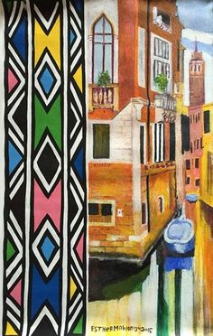 Esther Mahlangu, Venice, 2016 on Ethnic Patterns, Print Patterns, Geometric Patterns, African Dolls, South African Artists, Equine Art, African Design, People Art, Wall Colors