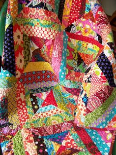 This string quilt by Southern Belle is so cheerful. It& part of my new treasury of string quilts. Warning: It will make yo. Scrap Quilt, Colchas Quilt, Quilt Blocks, Quilt Baby, Quilting Projects, Quilting Designs, Sewing Projects, Quilting Templates, Art Tribal