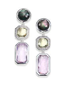 Ippolita - Semiprecious Multi-stone Diamond Sterling Silver Triple-drop Earrings in Silver