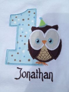 1st birthday boy owl onesie with name you by sewsosweetdesigns, $20.00