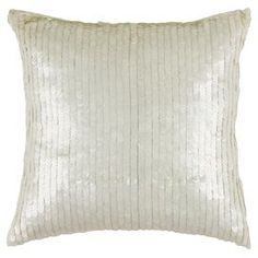 """Sequined cotton pillow.    Product: PillowConstruction Material: Cotton cover and siliconized polyester fiber fillerColor: Ivory     Features: Insert included  Dimensions: 18"""" x 18""""  Cleaning and Care: Hand wash in cold water with mild detergent"""
