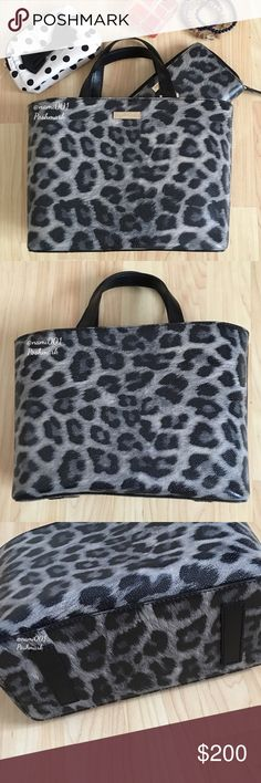 """Rare Kate Spade Juno Leopard Print Tote - EUC This chic and trendy Kate Spade leopard print tote comes to you in excellent condition as it was only used once for a few hours. A rare find and perfect for the girl looking to add to her handbag collection. Made of grainy vinyl with leather handles. 1 zippered pocket and 2 open pockets on the inside. The tote secures with a tap-snap closure. Measures: 12"""" x 8"""" x 4.5"""". Handle drop 5"""" and will sit comfortably over your arm. No scratches, tears…"""
