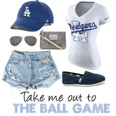 """""""To the Ball Game - LA Dodgers"""" by krista-bodnar on Polyvore t-shirt baseball hat Toms jean shorts"""