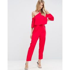 Buy ASOS Jumpsuit with Ruffle Bardot and Halter Neck Detail at ASOS. With free delivery and return options (Ts&Cs apply), online shopping has never been so easy. Get the latest trends with ASOS now. Ruffle Jumpsuit, Red Jumpsuit, Long Jumpsuits, Jumpsuits For Women, Winter Jumpsuits, Halter Crop Top, Halter Neck, Jumpsuit Elegante, Street Style 2017