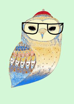 Adorable owl by Ashley Percival. I might order him as a laptop skin!
