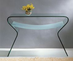 Clear curved glass coffee table with shelf. Elegant console table made of clear glass.Perfect for any area.Made of curved glass. W x D 16 x H Modern Console Tables, Modern Side Table, Modern Coffee Tables, Cheap End Tables, Coffee Table With Shelf, Laminate Furniture, Thing 1, Curved Glass, Modern Furniture