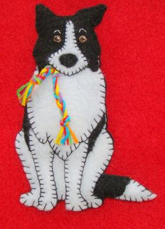 Border Collie ornament-slash-refrigerator magnet! Handmade and embroderied. Felt. Cute gift-original comic design. by justsue on Etsy