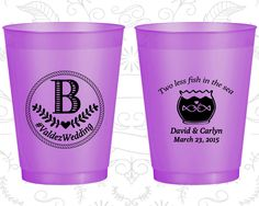 Two Less Fish in the Sea, Promotional Frosted Party Cups, Monogram Wedding, Monogrammed, Purple Frosted Cups (537)