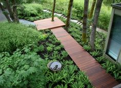 A floating walkway from the front patio to the back would let you replace the grass around it with ferns or short ornamental grasses and take care of the area being a mud pit.