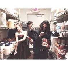 Zoey- What is this giant container? Danila- You want some hot sauce? Yeah? Okay. Avan- I will eat your soul.