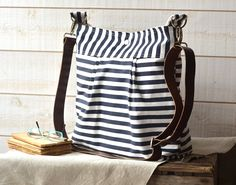 Waterproof Navy blue and white nautical stripe - 10 Pockets -diaper bag